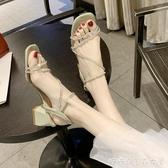 粗跟涼鞋女夏季網紅百搭一字帶水鑽中跟高跟鞋糖糖女屋