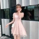 網紗洋裝 小雛菊連身裙超仙網紗裙法式時尚氣質輕熟女收腰顯瘦-Ballet朵朵