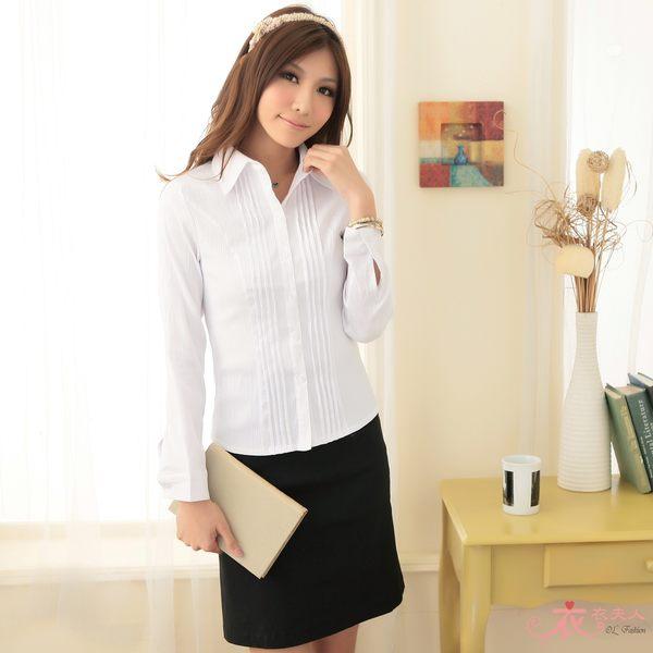 衣衣夫人OL服飾店【A33972】*48-50吋*雙排壓摺長袖襯衫(白)
