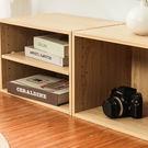 空櫃 書櫃 置物櫃 二層收納空層櫃-層板可抽-楓木色-2入組