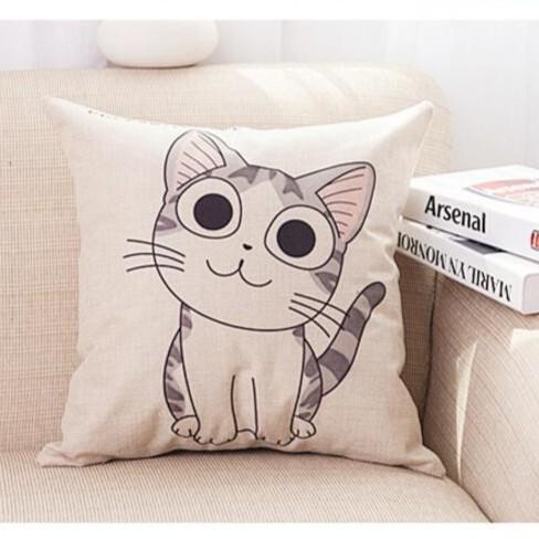【BlueCat】喵星人 棉麻 抱枕套 靠枕 沙發靠背 靠腰枕 靠墊 可拆洗