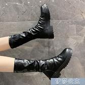 中筒靴女 騎士英倫風馬丁靴短靴女秋季新款中筒顯瘦切爾西長靴春秋單靴