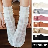 OT SHOP[現貨]襪子 透膚網眼中筒襪 女款 棉質 鏤空麻花紋 木耳邊 黑/灰藍/卡其/粉/磚紅/奶白 M1134