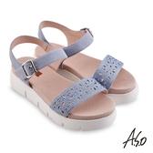 A.S.O 機能休閒 夏季輕量花型沖孔燙鑽休閒涼鞋 藍