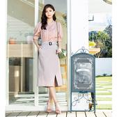 春夏7折[H2O]前片不對稱設計附本布腰帶直筒中長裙 - 藍/灰/粉色 #0672010