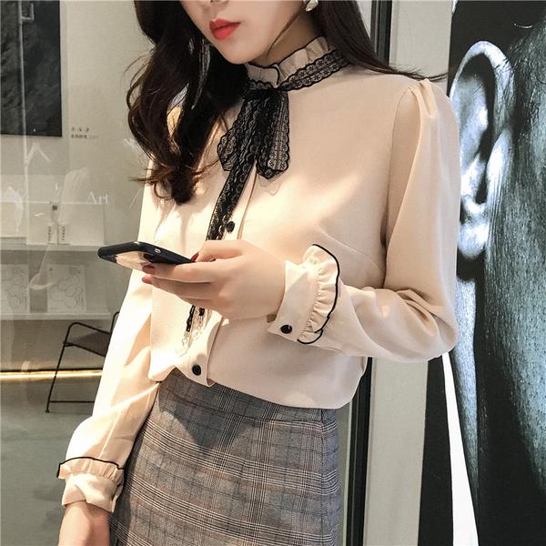 出清288 韓國風蝴蝶結襯衫洋氣長袖上衣