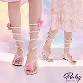 鞋子 花朵珍珠纏繞平底涼鞋-Ruby s 露比午茶