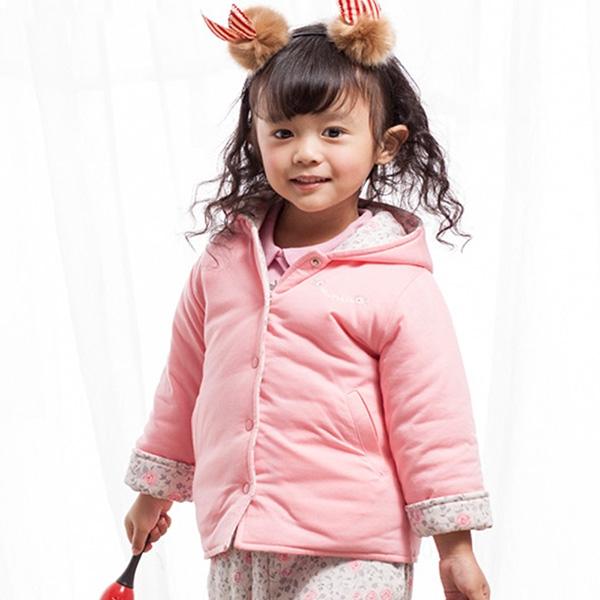 【愛的世界】純棉鋪棉小熊甜心兩面穿連帽長袖外套/1歲/3歲-台灣製-  ---秋冬外套