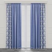 北歐幾何遮光窗簾 寬290x高240cm 藍色