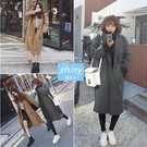 【V1316】shiny藍格子-美冬時尚.純色單釦雙口袋寬鬆中長款毛呢大衣外套