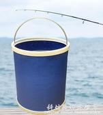 汽車用水桶大號摺疊桶便攜式車載洗車桶多功能戶外釣魚桶加厚耐用 科炫數位