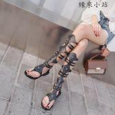 羅馬長筒涼鞋女夏鉚釘鞋