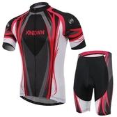 自行車衣-(短袖套裝)-速乾舒適高彈透氣男單車服套裝73er16【時尚巴黎】
