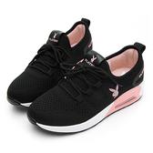 PLAYBOY 舒適針織氣墊綁帶休閒鞋-黑粉-Y5733