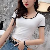 短T 黑白撞色漏腰t恤女緊身短袖小款上衣短款性感高腰露肚臍裝體恤夏