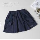 大童 蕾絲口袋深藍短褲 春夏童裝 女童短...