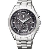 加碼第3年保固*贈鱷魚皮錶帶 CITIZEN 星辰 光動能電波鈦金屬手錶-灰x銀/41mm AT8160-55H