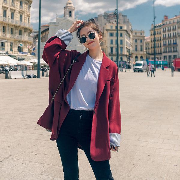 春秋法式西裝小外套女英倫風設計感小 韓版寬鬆小香風休閒小西服