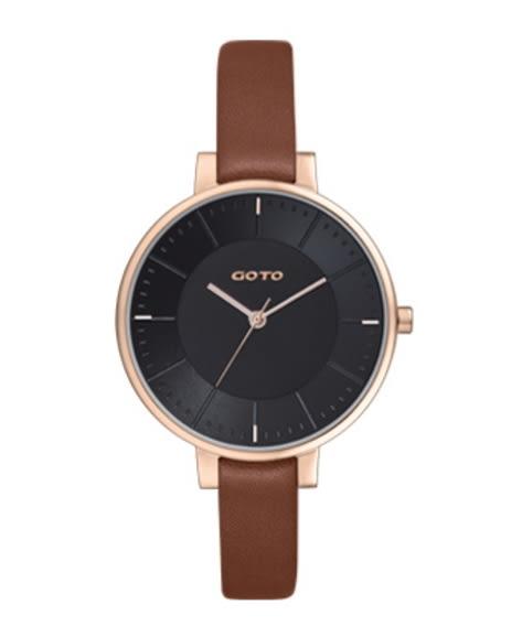 【時間道】[GOTO。錶]簡約有秒針時尚腕錶/黑面玫瑰金殼咖啡皮(GL1040L-4K-341)免運費