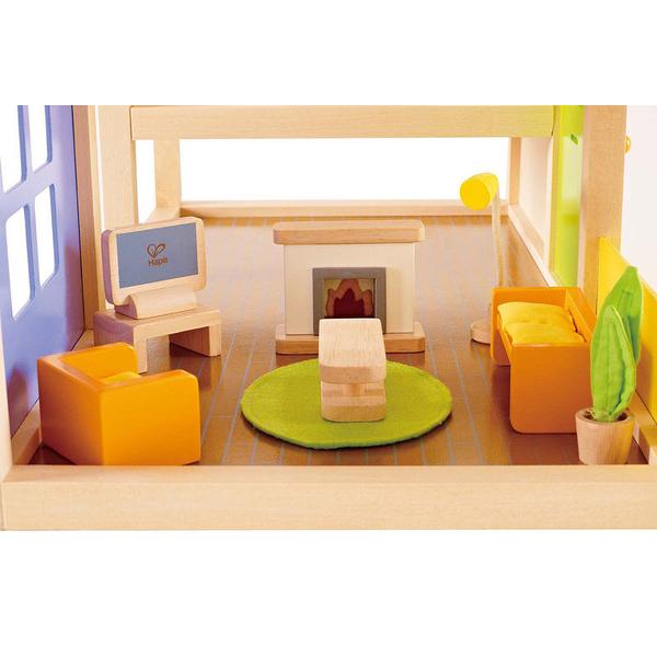 【德國 HAPE 愛傑卡】現代客廳組 Living Room 角色扮演 娃娃屋 居家系列