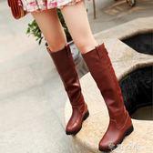 冬秋冬女長靴高筒靴低跟英倫側拉鍊長筒靴騎士靴平底中靴女鞋 千惠衣屋