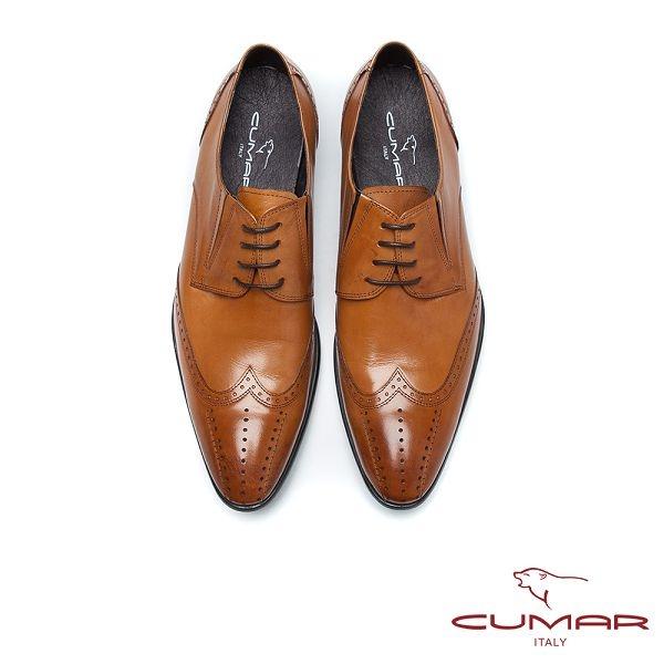 CUMAR英倫紳士 牛皮綁帶紳士皮鞋-棕