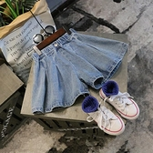 女童牛仔短褲 夏裝新款女童兒童童裝寶寶洋氣寬管牛仔短褲熱褲裙百褶裙褲子-Ballet朵朵