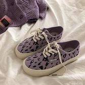 林先參 原創豹紋帆布鞋女小眾設計感韓版百搭鞋子潮鞋ins街拍板鞋 韓國時尚週 免運