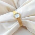 vintage中古風復古設計小眾輕奢麥穗鑲鉆小方金手表禮物【小獅子】