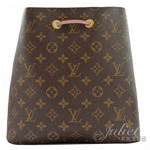 Louis Vuitton LV M44022 Neonoe 經典花紋肩斜兩用水桶包.粉 全新 現貨【茱麗葉精品】