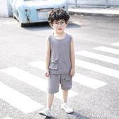 男童背心套裝2019新款夏季3寶寶5兒童6歲中小童純色休閒無袖夏休閒褲裝LXY2496【東京潮流】