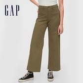 Gap女裝 簡約風格純色闊腿休閒褲 616968-橄欖綠