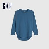 Gap女童 棉質舒適亮色圓領長袖T恤 661671-藍色