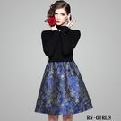 (現貨+預購 RN-girls)-精品OL上班族針織拼接緹花長袖洋裝