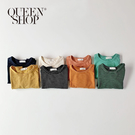 Queen Shop【01038349】童裝 素色條紋棉T二件組 四色售 S/M/L/XL*現+預*