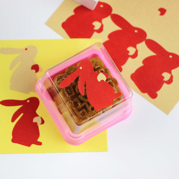 【BlueCat】中秋月餅兔子封口貼紙 (6枚入)