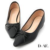 D+AF 春日繽紛.蝴蝶結尖頭低跟娃娃鞋*黑