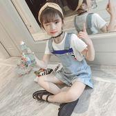 女童背帶褲牛仔短褲潮韓版夏季薄款兒童寬鬆褲子中大童裝艾維朵