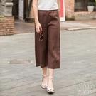 夏季新款高腰亞麻休閒褲小個子女薄款棉麻垂感寬鬆大碼八分闊腿褲 快速出貨