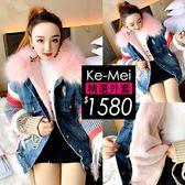 克妹Ke-Mei【ZT49137】歐洲站 N3B重磅款奢華皮草毛毛內膽可拆針織袖牛仔外套