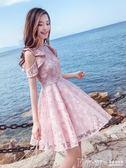 蕾絲洋裙 超仙收腰小清新蕾絲連身裙【韓國時尚週】