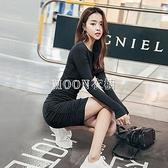 長袖褶皺洋裝收腰黑色歐美小裙子裝新款緊身顯瘦圓領包臀裙 快速出貨