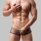情趣內褲 男性商品★快速出貨★極致輕薄超細網紗透視平角褲 (潮黑)-L號