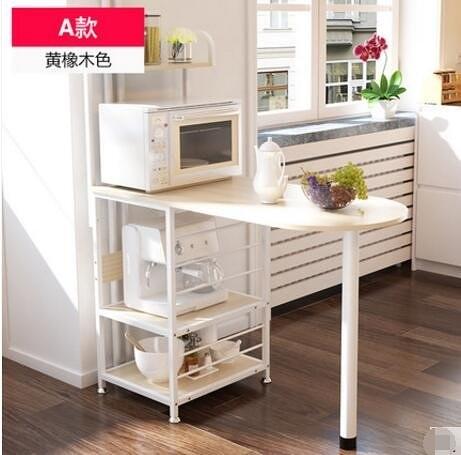 創意廚房儲物架收納架落地微波架廚房置物架微波爐架多功能3(主圖款A款黃橡木色)