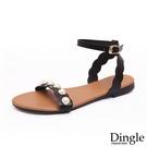 Dingle丁果ღ歐美一字帶珍珠造型平底涼鞋(一色35-41)
