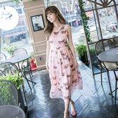 洋裝-無袖粉色真絲蝴蝶印花女連身裙73nj16【巴黎精品】