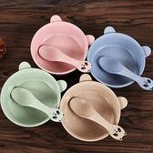 小麥秸稈卡通熊貓碗勺套裝(碗x1+湯匙x1)  顏色隨機【小三美日】