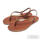 GRENDHA 晶鑽人字帶時尚夾腳涼鞋-古銅/金
