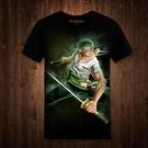 動漫周邊短袖t恤 海賊王卡通3d印花羅羅諾亞·佐羅 個性寬松短袖