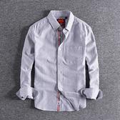 長袖襯衫 商務時尚條紋青年休閑襯衣簡約口袋裝飾百搭男士長袖襯衫